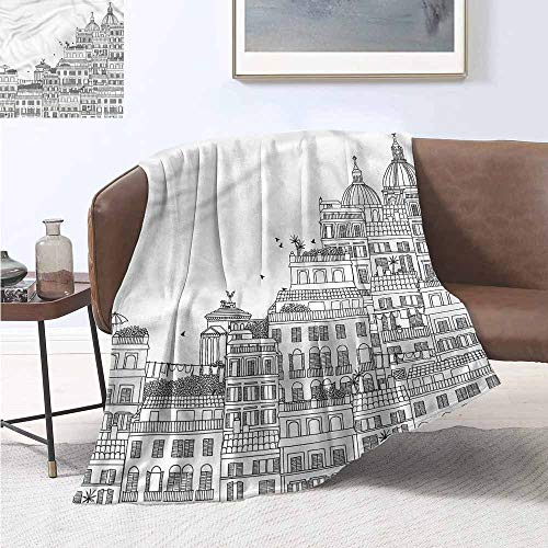(Decorative Throwing Blanket European Hand Drawn Italian Town Print Summer Quilt Comforter W60 xL91 Traveling,Hiking,Camping,Full Queen,TV,Cabin)