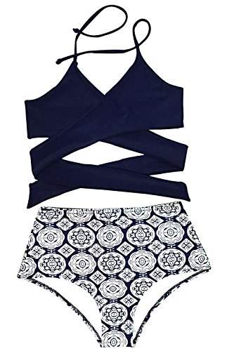 Cupshe-Fashion-Womens-Front-Cross-High-waisted-Halter-Bikini-Set