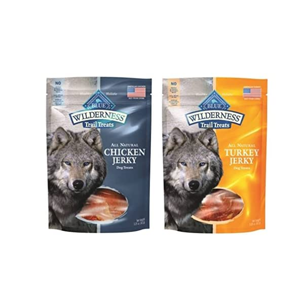 Blue Buffalo Wilderness Trail Treats All-Natural Grain Free Jerky 2 Flavor Variety Bundle: (1) Blue Wilderness Trail Treats Chicken Jerky, and (1) Blue Wilderness Trail Treats Turkey Jerky, 3.25 Oz.