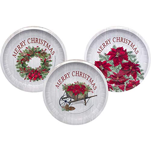 Christmas Holiday 10-Inch Tin Poinsettia Holly Pinecone Cookie Snack Serving Tray Plate (Set of 3)
