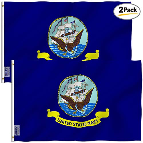 Anley Pack of 2 Fly Breeze 3x5 Foot US Navy Flag - Vivid Color and UV Fade Resistant - Canvas Header and Double Stitched - United States Naval Military Polyester Flags with Brass Grommets 3 X 5 Ft