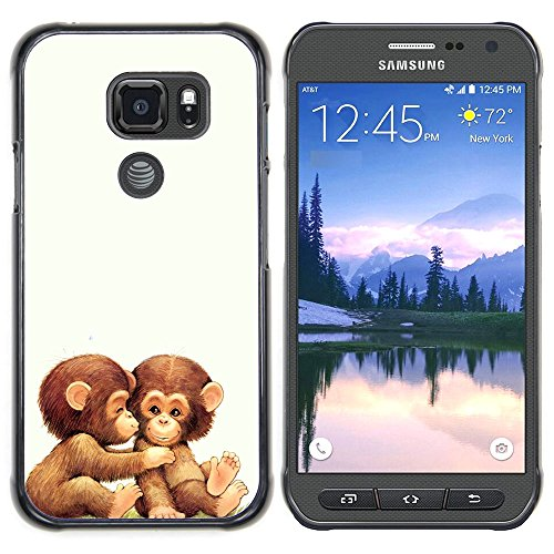 (Graphic4You 2 Cute Baby Monkeys Animal Design Thin Slim Rigid Hard Case Cover for Samsung Galaxy S7 Active)