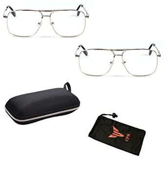 0c8d7a6de0 Image Unavailable. Image not available for. Color  CPS Square Rectangular  Shape Metal Wired Gun Metal Silver Gold Aviator Men Women Reader Reading  Glasses