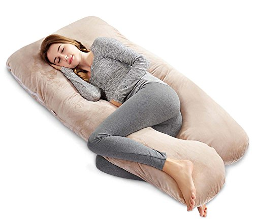 Ang Qi 55 inch Full Body Pregnancy Pillow with Washable Velvet Cover, U Shaped Maternity Pillow, Khaki