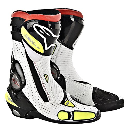 Alpinestars Smx 4 Boot (Alpinestars SMX Plus Boots , Gender: Mens/Unisex, Distinct Name: Black/White/Fluorescent Yellow, Primary Color: Yellow, Size: 04 2221013-126-37)