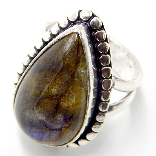 Pratik-Jewel Labradorite 925 Sterling Silver Plated Handmade Jewelry Ring US Size -
