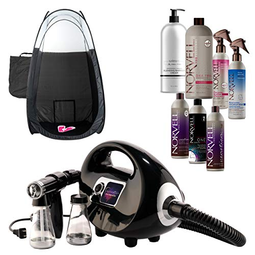 Fascination Spray Tanning Machine and Gun Kit with Norvell Airbrush Tan Solution Sunless Pro Bundle and Black Pop Up Tent (Self Tanner Machine)