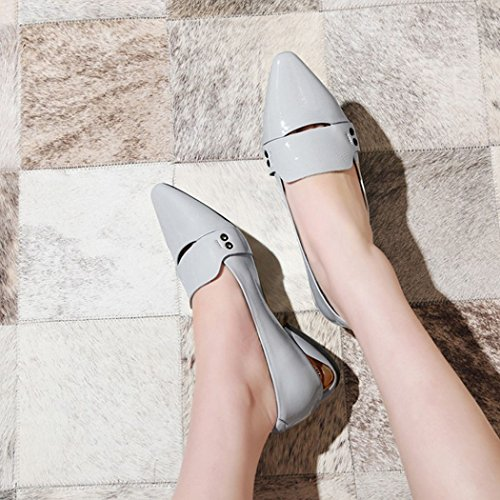 Shoes Gray Casual Lazy Summer Leather Spring Driving Fashion Career Loafers Pumps Shoes Shoes GAOLIXIA Work Women's Shoes Pointed Flat UBqwOfO