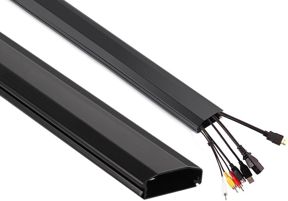 Maclean MC-693 - Canaleta para Cables de televisión Color Blanco, Negro o Plateado (Negro)