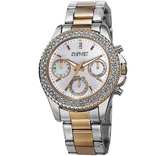 August Steiner Women's Swiss Quartz Multifunction Watch - 3 Subdials on Diamond & Crystal Filled Bezel On Stainless Steel Bracelet - AS8100