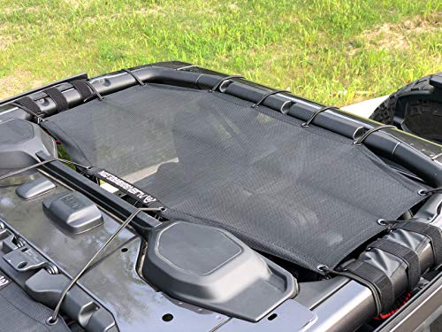 ALIEN SUNSHADE Jeep Wrangler 4 Door JLU Rear Passenger Half Sun Shade Mesh Top 2018+ (New Body Style) (Black)