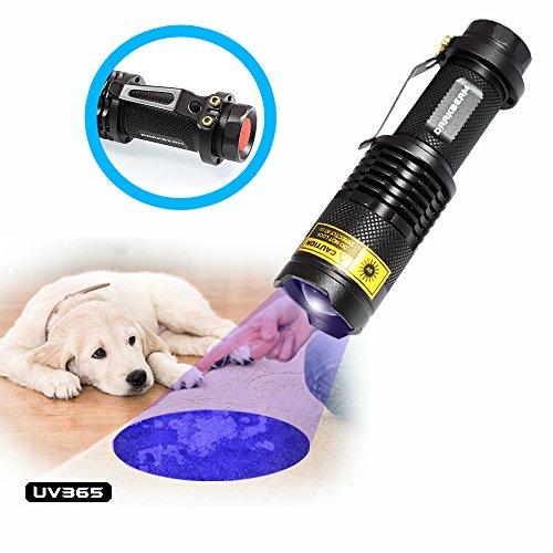 UV Flashlight Black Light 365nm LED Lamp Blacklight Pet Urine Portable Mini Pocket Detector For Dog Cat Dry Stains Bed Bug Ultraviolet Flashlights Lights With Clip SK68(1 pack)