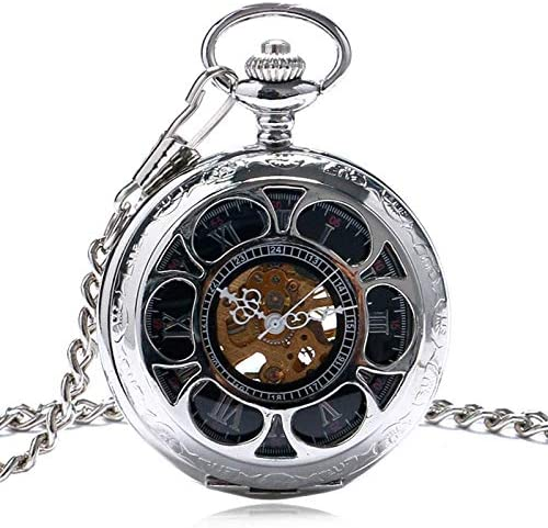 懐中時計、中空ケースローマ数字ダイヤルハンドウィンドメカニカルメンズウォッチシルバーカラーヴィンテージスタイルマンクロッククリスマスギフト