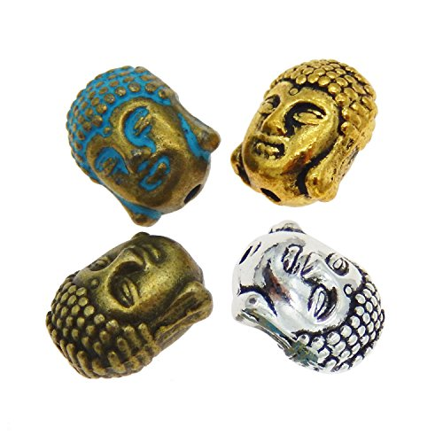 (Julie Wang 40pcs Assorted Metal Buddha Head Bead Spacer Beads for Jewelry Making)