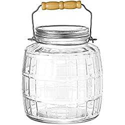 Anchor Hocking 1-Gallon Glass Barrel Jar with Brushed Aluminum Lid, Set of 2