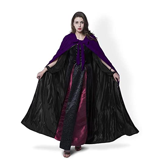 Amazon.com  Hooded Cloak Purple Halloween Wizard Robe for Christmas Fancy  Coat  Clothing 7db4d0d42