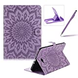 Wallet Case for Samsung Galaxy Tab A 10.1 T580,Flip Pu Leather Case for Samsung Galaxy Tab A 10.1 T580,Herzzer Classic Elegant [Purple Mandala Flower Pattern] Stand Function Magnetic Smart Leather Case with Soft Inner for Samsung Galaxy Tab A 10.1 T580 + 1 x Free Purple Cellphone Kickstand + 1 x Free Purple Stylus Pen