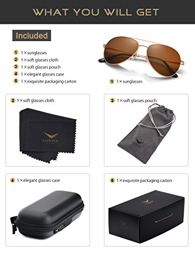 LUENX Men Women Aviator Sunglasses Polarized Brown Lens Metal Frame UV 400 59MM Driving Fashion with Accessories by LUENX (Image #5)