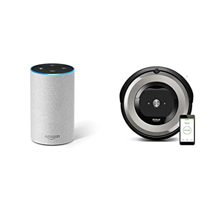 Echo gris claro + iRobot Roomba e5154 - Robot Aspirador Óptimo Mascotas, Succión 5 Veces