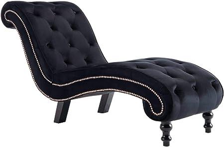 Festnight Diván de Terciopelo Diván Chaise Longue Sillón Relax Sofas Salon Chaise Longue Negro 145 x 52 x 77 cm