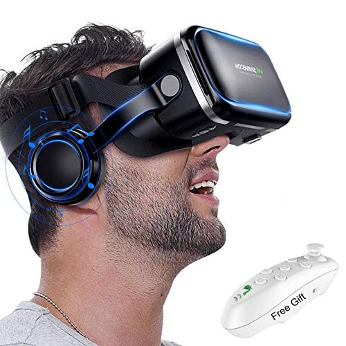 3D VR Goggle Virtual Reality Headset w/ Over Ear Headphone for iPhone 11 Pro X S R 10 8 7 6 Plus, Samsung Galaxy S10 E…