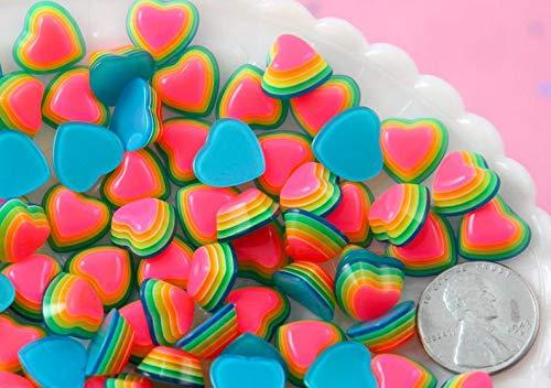 - Yunakesa Rainbow Resin Cabochons - 12mm Rainbow Striped Bright Hearts Resin Flatback Cabochons - 20 pc Set
