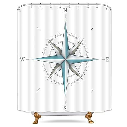 Riyidecor Compass Shower Curtain Nautical Directional Marine Instrument White Wind Rose Earth Illustration Guide Decor Bathroom