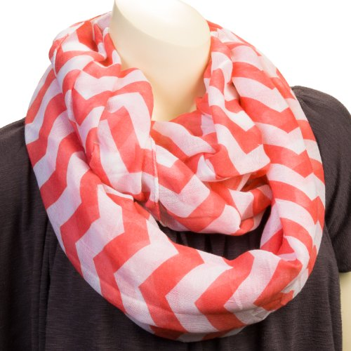 Silverhooks Womens Soft Infinity Circle Sheer Chevron Scarf (Coral Pink/White)