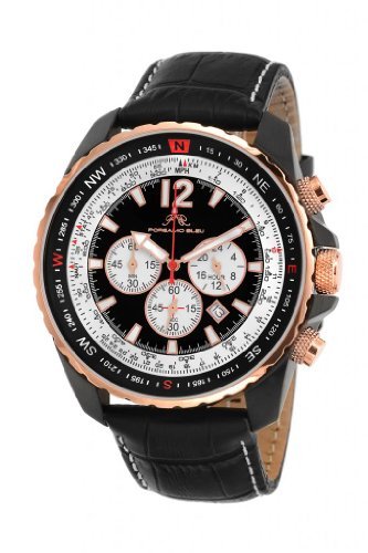 Porsamo Bleu Martin Genuine Leather Black & Rose Tone Men's Watch 352CMAL