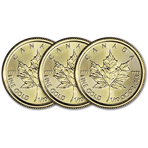 CA 2019 Canada Gold Maple Leaf (1/10 oz) THREE 3 Brilliant Uncirculated