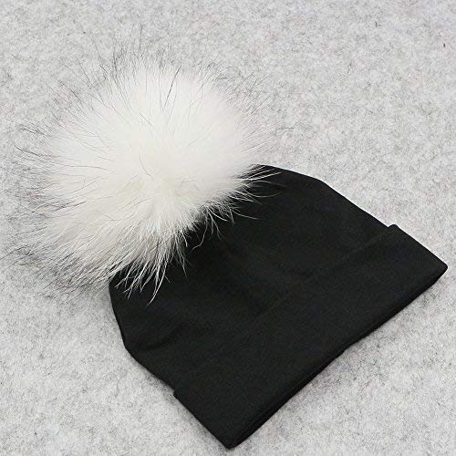 510add41201 GZHILOVINGL Baby Toddler Bonnet Hat With Big Real Fur Pom Pom Kid Girl  Winter Beanie