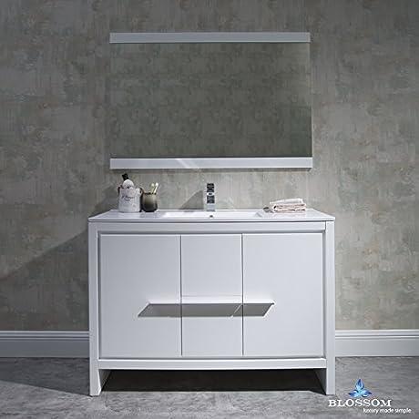 BLOSSOM 014 48 01 SBM Milan 48 Vanity Set With Mirror Glossy White