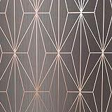 Kayla Metallic Geometric Wallpaper Charcoal/Rose Gold Muriva 703015