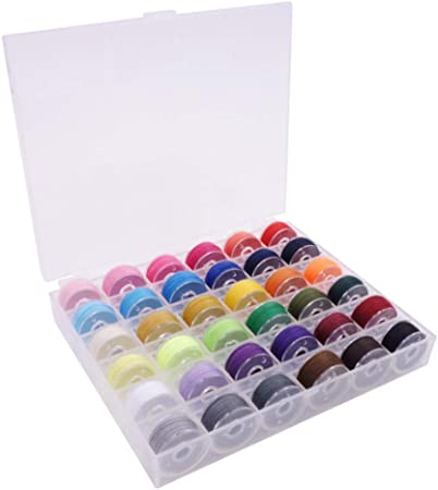 36PCS Bobbin Threads with Storage Case Box Pre-Wound Bobbins Set for Brother+