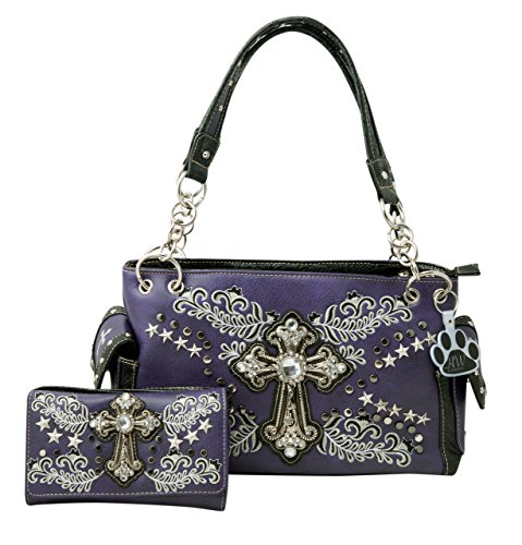 HW Collection Western Rhinestone Cross Leaf Vine Concealed Carry Handbag and Wallet (Purple)