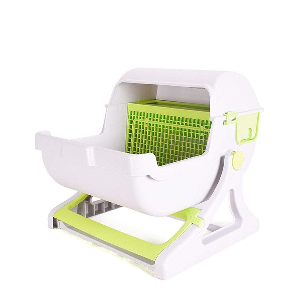 Xiguan Cat Sand Tray cat Litter Carrier Semi-Automatic Flip Trash Tray Cat Toilet Easy to Shovel Sand Toilet Easy to Clean Large Space Environmentally Friendly No Smell Cat Toilet (Color : Green) by Xiguan