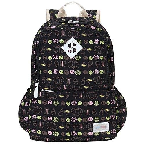 Adi Designs Backpack (Bagerly Lightweight Canvas Laptop Bag Shoulder Daypack School Backpack Causal Handbag (Black Vegetables))