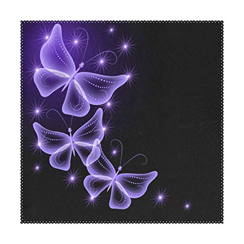 Butterfly Square Dining Table - Placemats Purple Butterfly Art Square Place Mats for Dining Table Set Heat Resistant Washable Polyester Kitchen Table Mats set of 4