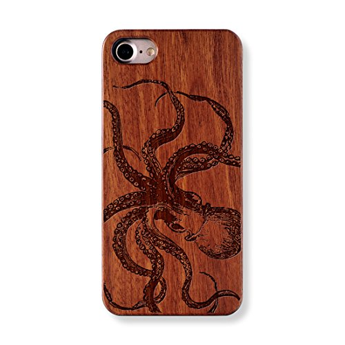 Octopus Sketch precise laser engraved Natural wood case For iPhone 7 case...