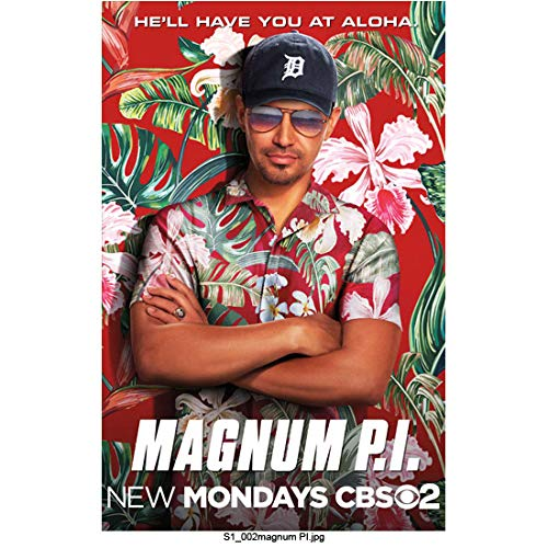 Magnum P.I. (2018) 8Inch x 10Inch photo Jay Hernandez promo photo show logo wearing a red Hawaiian shirt ed