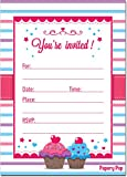 30 Cupcake Birthday Invitations with Envelopes (30 Pack) - Kids Birthday Party Invitations for Girls or Boys