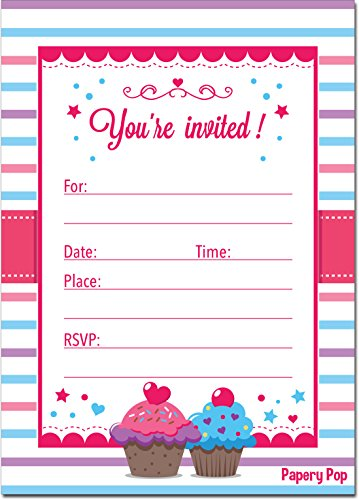 30 Cupcake Birthday Invitations with Envelopes (30 Pack) - Kids Birthday Party Invitations for Girls or Boys by Papery Pop