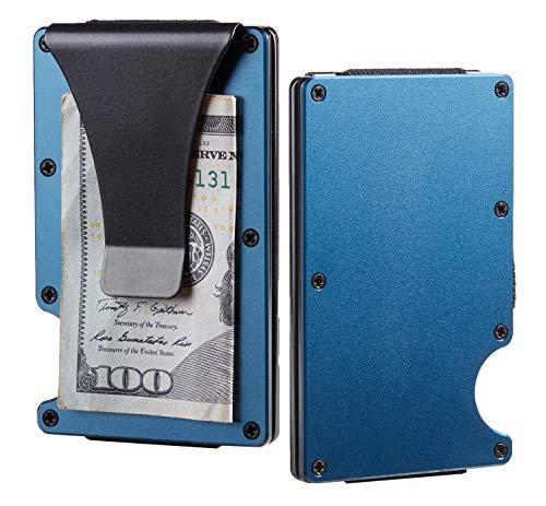 BSWolf Carbon Fiber Slim Minimalist Front Pocket Wallet Credit Card Case Holder RFID Blocking (aluminum blue)