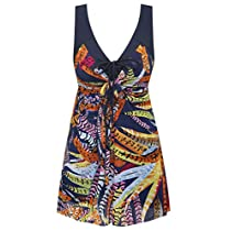 Wantdo Womens Plus Size Swimdress Flower Printed Swimwear Cover Up Swimsuits