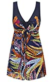 Wantdo Women's Swimdress Printed Swimwear Flatting Cover Up Swimsuits Feather US 26W-28W