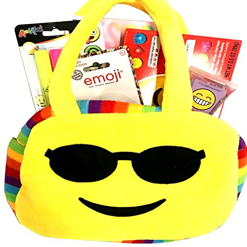 Gifts For Teen Girl - Tween Girl - Emoji Purse #2 Gift Basket with Emoji Purse, Lip Balm, Candy, More - Perfect for Birthday, Get Well, Thinking of You, Halloween, (Halloween Gift Baskets For Children)