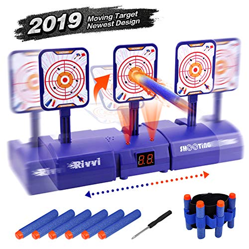 Rivvi Moving Target Compatible for Nerf-Targets-for-Shooting for Kids, 2019 Upgrade Auto Reset Digital Target Accessories Compatible for Nerf-Guns-for-Boys Zombie Rival Sniper Strike Mega Elite Gifts