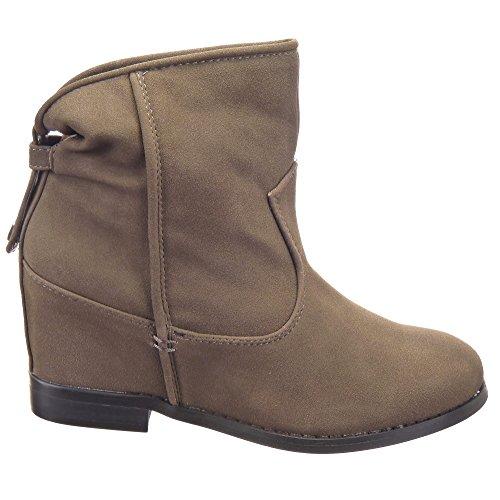Sopily - Zapatillas de Moda Botines Low boots Tobillo mujer Talón Plataforma 7 CM - plantilla textil - Caqui