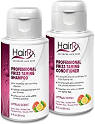 HairRx Professional Frizz-Taming Shampoo & Conditioner Travel Set, Luxurious Lather, Citrus Scent, 2 Ounce Bottles