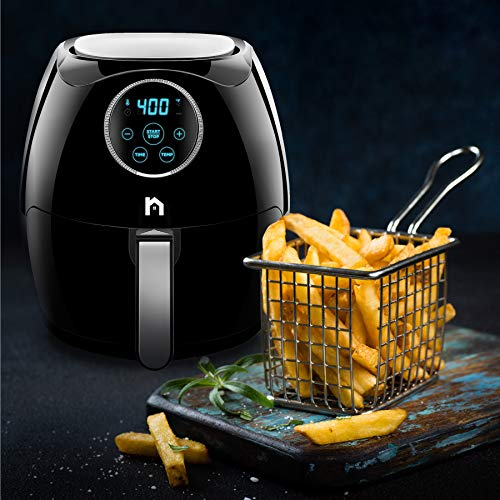 New House Kitchen Digital 6.5 Liter Air Fryer w/Flat Basket Oil-Free Touch Screen AirFryer, Dishwasher-Safe Parts, Fast Healthier Food, 60 Min Timer & Auto Shut Off, Extra Large Family Size, Black by New House Kitchen (Image #4)